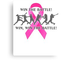 Win the Battle Softball Breast Cancer Support Ribbon Canvas Print