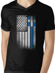 Greek American Flag - Half Greek Half American Mens V-Neck T-Shirt