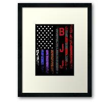 Brazilian JiuJitsu Rank on American Flag behind printed shirt Framed Print