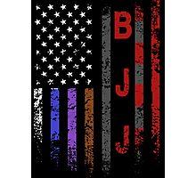Brazilian JiuJitsu Rank on American Flag behind printed shirt Photographic Print