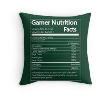 Gamer Nutrition Facts Throw Pillow