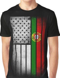 Portugese American Flag - Half Portugese Half Graphic T-Shirt