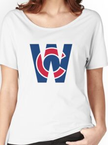 Cubs W Chicago Cubs W with Red/Blue C Women's Relaxed Fit T-Shirt
