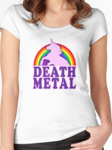 Death Metal Unicorn Women's Fitted Scoop T-Shirt