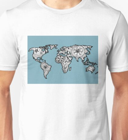World Map Hand Drawn Pattern Blue Unisex T-Shirt