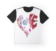 Lovely Flowers in Heart Graphic T-Shirt