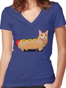 Corgi Hotdog Women's Fitted V-Neck T-Shirt