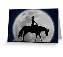 Moonlight Cowgirl Greeting Card