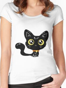 Adorable Black Cat Women's Fitted Scoop T-Shirt