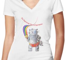 Painting A Rainbow Just For You (Original Art by Alice Iordache) Women's Fitted V-Neck T-Shirt