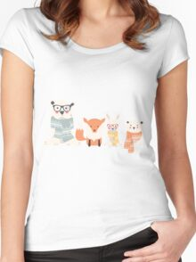 Christmas animal pattern, 001 Women's Fitted Scoop T-Shirt