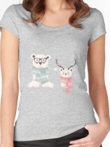 Hipster polar bears in a forest Women's Fitted Scoop T-Shirt