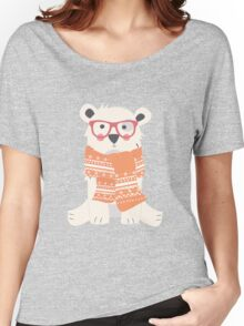 Hipster polar bear in the forest Women's Relaxed Fit T-Shirt