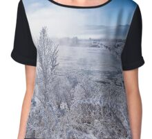 Winter landscape - frosty winter plants Chiffon Top