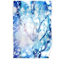 Baubles on Silver Tree under Drawn Snow Poster