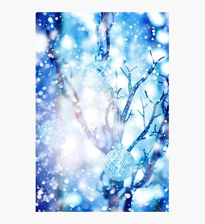 Baubles on Silver Tree under Drawn Snow Photographic Print
