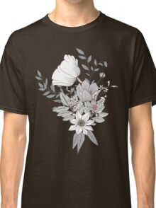 Seamless pattern design with hand drawn flowers and floral elements, white Classic T-Shirt