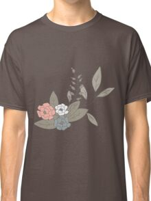 Seamless pattern design with hand drawn flowers and floral elements Classic T-Shirt