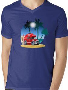 Cartoon Camper Mens V-Neck T-Shirt