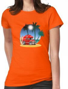 Cartoon Camper Womens Fitted T-Shirt