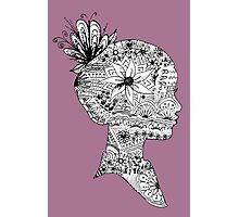 Purple Floral Girl Bust Design Free Hand Drawn Photographic Print