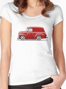 Cartoon retro delivery van Women's Fitted Scoop T-Shirt