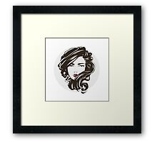 Portrait of a beautiful sexy girl with streaming hair.  Framed Print