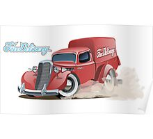Cartoon retro delivery van Poster