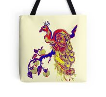 Peacock in a Peach Tree (Remix) Tote Bag