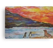 Beautiful Penguins With Sea Lion By The Blue Ocean Painting  Canvas Print