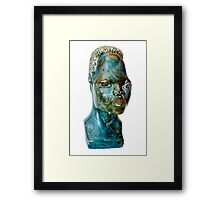 African Art, stone portrait of a female African bust, south Africa Framed Print