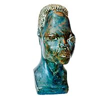 African Art, stone portrait of a female African bust, south Africa Photographic Print
