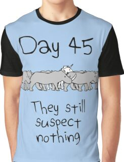 Day 45. They still suspect nothing. (Unicorn + Rhinos) Graphic T-Shirt
