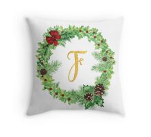 Christmas Monogram F Throw Pillow