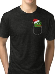 Pocket Sad Santa Pepe Frog Tri-blend T-Shirt