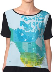 Map of the USA and Canada Chiffon Top