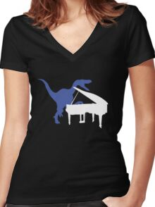 Velociraptor Playing Piano Women's Fitted V-Neck T-Shirt