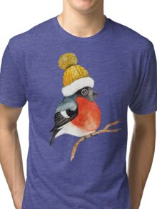 Christmas bird Bullfinch Tri-blend T-Shirt
