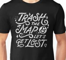 Trash the Map & Let's Get Lost - Travel Adventure Design (white) Unisex T-Shirt