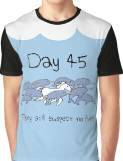Day 45. They still suspect nothing (Narwhals + Unicorn) Graphic T-Shirt