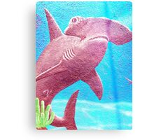 Beautiful Hammerhead Shark In The Blue Ocean Painting  Canvas Print
