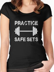 Practice Safe Sets - Funny Gym Workout  Women's Fitted Scoop T-Shirt