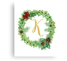 Christmas Monogram K Canvas Print