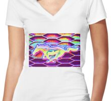 Mustang Women's Fitted V-Neck T-Shirt