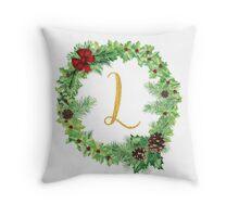 Christmas Monogram L Throw Pillow
