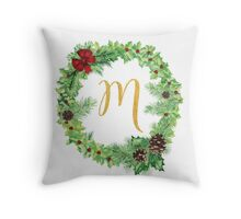 Christmas Monogram M Throw Pillow