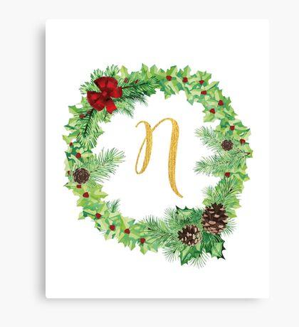 Christmas Monogram N Canvas Print