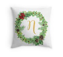 Christmas Monogram N Throw Pillow