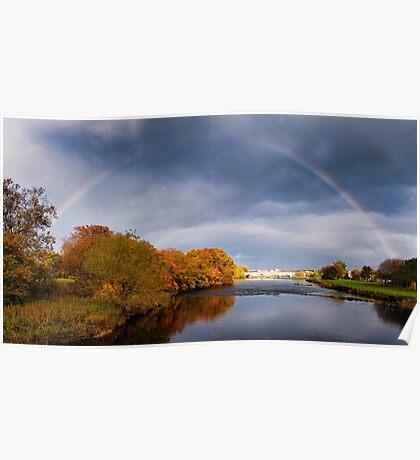 Rainbow over Thurso River Poster