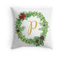 Christmas Monogram P Throw Pillow
